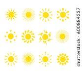 a set of yellow suns. vector...   Shutterstock .eps vector #600884237