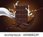 chocolate ad with milk and... | Shutterstock . vector #600888239