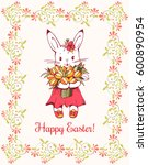 white easter bunny with flowers.... | Shutterstock .eps vector #600890954