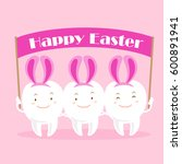 Cute White Cartoon Tooth With...
