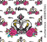 vector queen hashtag and luxury ... | Shutterstock .eps vector #600892361