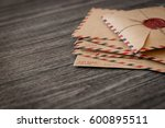 old retro envelopes with a wax... | Shutterstock . vector #600895511