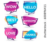 cute and bright speech bubbles... | Shutterstock .eps vector #600896411