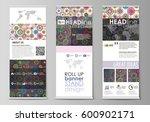 roll up banner stands  flat... | Shutterstock .eps vector #600902171