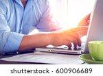 closeup businessman working... | Shutterstock . vector #600906689