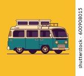 camper van vector line... | Shutterstock .eps vector #600908015