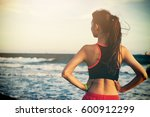 young fitness sports woman... | Shutterstock . vector #600912299