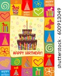 birthday card. celebration... | Shutterstock .eps vector #600913049