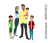 happy muslim family  parents... | Shutterstock .eps vector #600915611