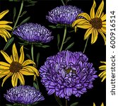 seamless floral pattern with... | Shutterstock .eps vector #600916514