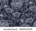 seamless monochrome floral... | Shutterstock .eps vector #600916535
