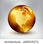 earth globe icon with map of... | Shutterstock .eps vector #600925271