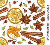 seamless pattern with oranges... | Shutterstock .eps vector #600929315