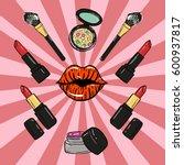 hand drawn make up beauty...   Shutterstock .eps vector #600937817
