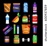 sport and fitness nutrition and ... | Shutterstock .eps vector #600937859