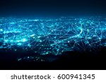 abstract line connection on... | Shutterstock . vector #600941345