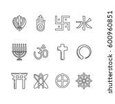 religion icon set in simple... | Shutterstock .eps vector #600960851