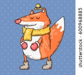 cartoon fox with scarf. cartoon ... | Shutterstock .eps vector #600968885
