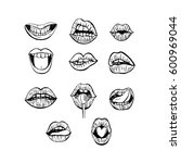 hand drawn woman's lips.... | Shutterstock .eps vector #600969044