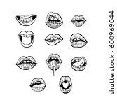 hand drawn woman's lips....   Shutterstock .eps vector #600969044