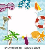 sea frame. flat illustration | Shutterstock .eps vector #600981005