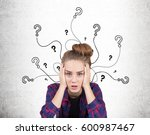 portrait of a stressed teen... | Shutterstock . vector #600987467