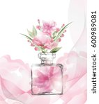 beautiful perfume bottle with... | Shutterstock .eps vector #600989081
