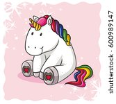 cute comic unicorn | Shutterstock .eps vector #600989147