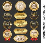 golden badges and labels... | Shutterstock .eps vector #600989237