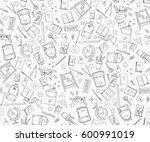 hand drawn school doodle set... | Shutterstock .eps vector #600991019