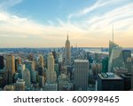 new york city skyline with... | Shutterstock . vector #600998465