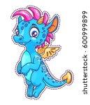little cute cartoon dragon... | Shutterstock .eps vector #600999899