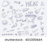 meat doodle vector set on... | Shutterstock .eps vector #601000664