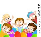 happy kids playing at birthday... | Shutterstock .eps vector #601002755