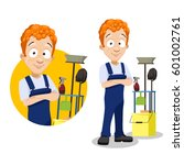 cartoon character with cleaning ... | Shutterstock .eps vector #601002761