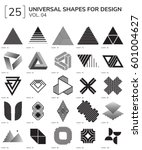 set 25 universal geometric... | Shutterstock .eps vector #601004627