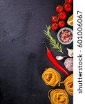 pasta spaghetti with... | Shutterstock . vector #601006067