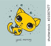 Stock vector vector card with cute cat and hand drawn text good morning 601007477