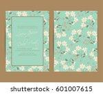 wedding invitation. floral... | Shutterstock .eps vector #601007615