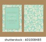 wedding invitation with vintage ... | Shutterstock .eps vector #601008485