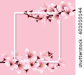 cherry blossom  sakura branch... | Shutterstock .eps vector #601010144