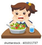 unhappy girl doesn't want eat...   Shutterstock .eps vector #601011737