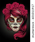 sugar skull lady   Shutterstock .eps vector #601011917