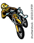 motocross rider in act | Shutterstock .eps vector #601011959