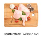 wooden board with raw chicken... | Shutterstock . vector #601014464