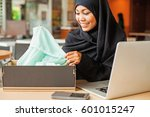 young arab smiling woman... | Shutterstock . vector #601015247