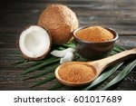 bowl and spoon of brown sugar... | Shutterstock . vector #601017689