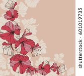 vector illustration red flowers ... | Shutterstock .eps vector #601019735
