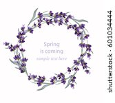 beautiful lavender wreath... | Shutterstock .eps vector #601034444