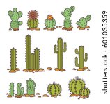 vector illustration cacti in... | Shutterstock .eps vector #601035359
